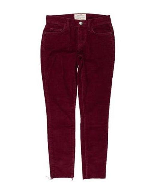 abb19f4e60e Current Elliott - Red Corduroy Low-rise Skinny Pants - Lyst ...