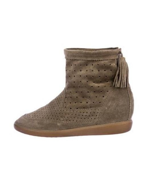 eca7ea5c5b2d Isabel Marant - Green Perforated Suede Boots - Lyst ...