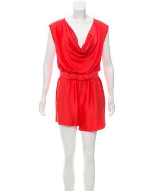 867601d25b72 Diane von Furstenberg - Red Bellancia Silk Romper Coral - Lyst ...