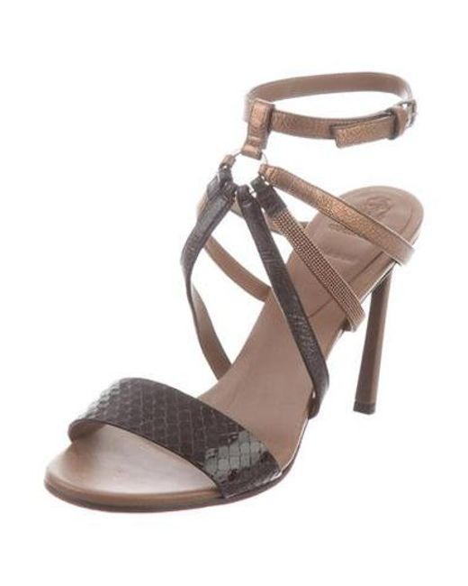 98370df154 Brunello Cucinelli - Brown Monili Embellished Sandals - Lyst ...