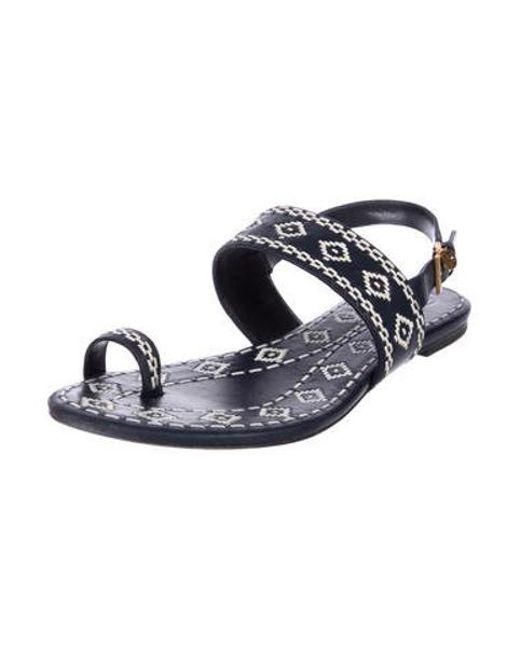 b2ba36e8d733a ... Tory Burch - Metallic Slingback Leather Sandals Blue - Lyst ...