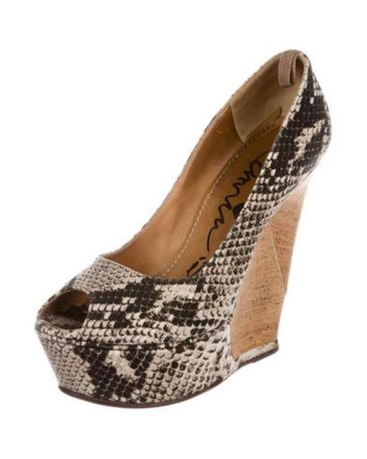 b05dfbf013f ... Lanvin - Natural Snake Print Wedges Black - Lyst ...
