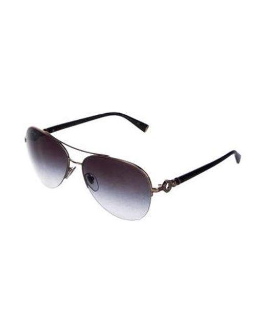 a09705b1ddc7 ... BVLGARI - Metallic Gold-plated Aviator Sunglasses Black - Lyst ...