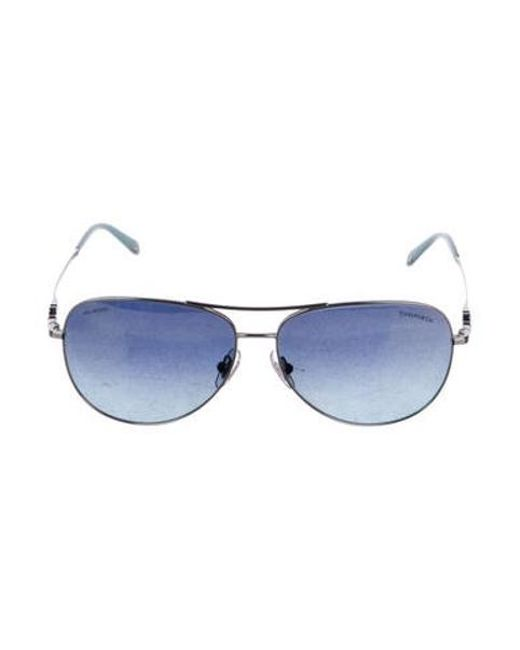 a2f619e668 Tiffany   Co - Metallic Tinted Aviator Sunglasses Silver - Lyst ...