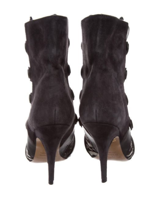 cheap price buy discount Isabel Marant Ponyhair-Accented Suede Boots outlet in China X0XrB8k