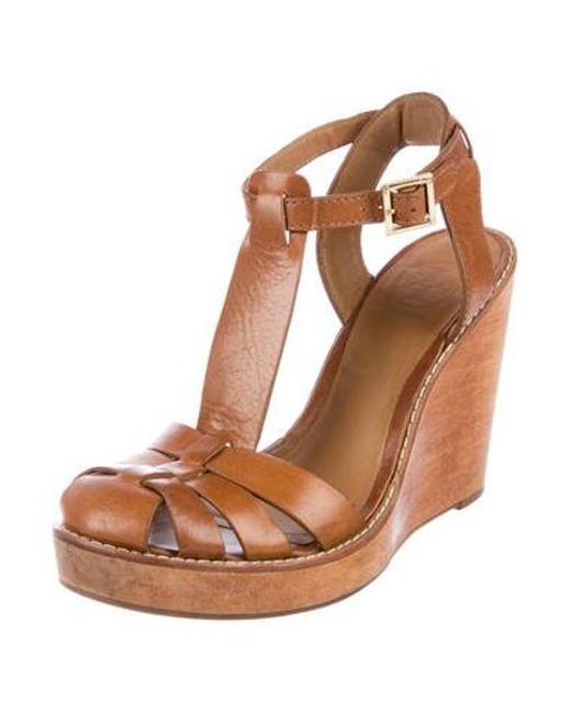 e77cd63593b ... Tory Burch - Natural Leather T-strap Wedges Tan - Lyst ...