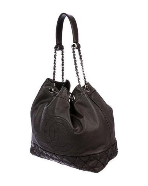 269e4812a1f2 ... Chanel - Metallic Surpique Drawstring Bucket Bag Silver - Lyst ...