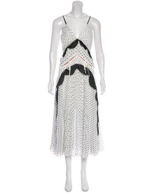 e2a0b0ee074ac Self-Portrait - White Sleeveless Midi Dress - Lyst ...