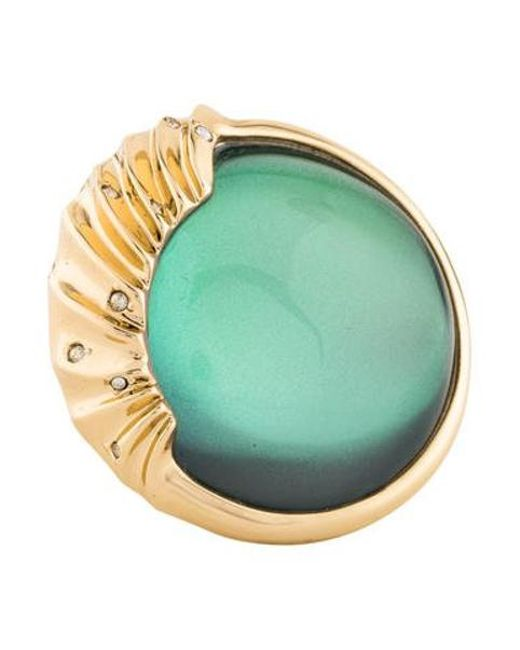Alexis Bittar - Metallic Crystal Studded Sculptural Sphere Cocktail Ring Gold - Lyst