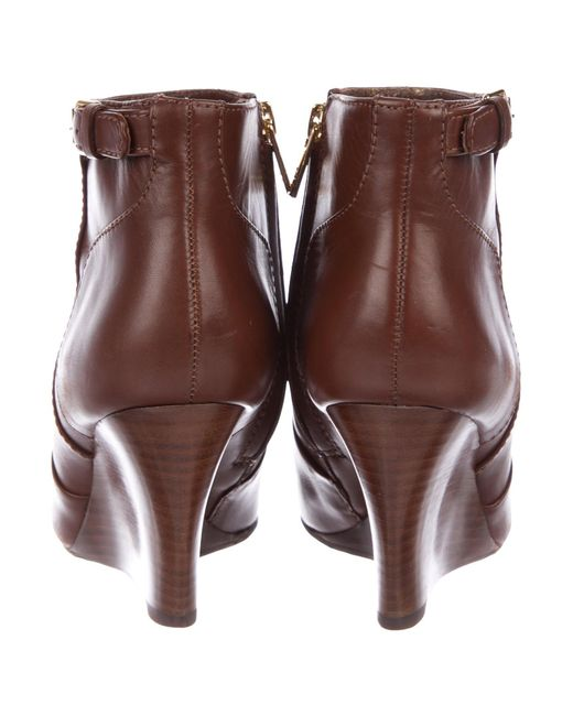 089e965e7e2d ... Tory Burch - Metallic Milan Leather Wedge Boots Brown - Lyst ...