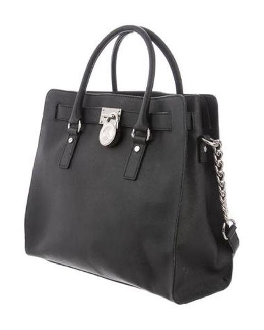 288e11b9dcc1 ... MICHAEL Michael Kors - Metallic Michael Kors Large Hamilton Satchel Bag  Black - Lyst ...