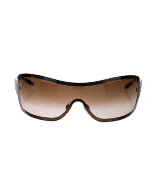 2ffceba3e91 Chanel - Metallic Quilted Shield Sunglasses Brown - Lyst ...