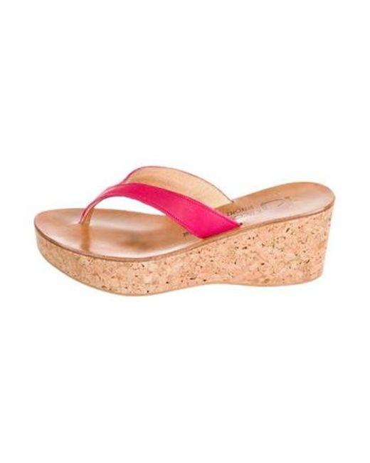 3be9ae2d454 K. Jacques - Pink Platform Cork Wedges - Lyst ...