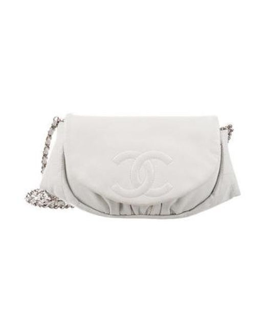 Chanel Metallic Half Moon Wallet On Chain White Lyst