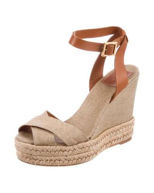 1cd5aaa5ecc Tory Burch - Natural Woven Wedge Sandals Tan - Lyst ...