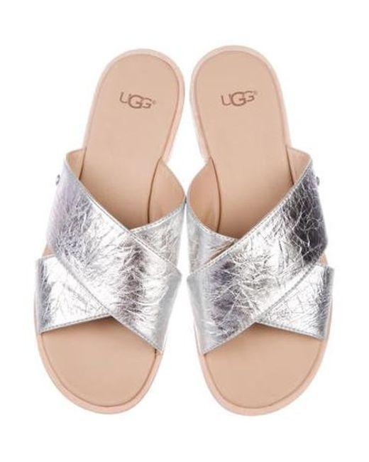 fc5082903bbf0 ... Ugg - Metallic Leather Slide Sandals Silver - Lyst ...
