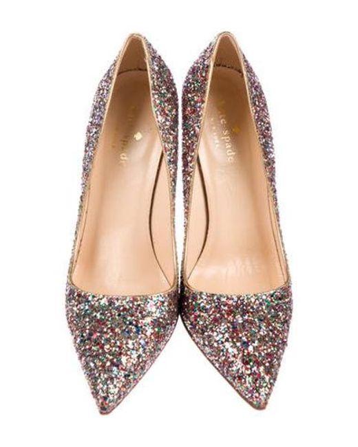 1e6710104f42 ... Kate Spade - Metallic Glitter Pointed-toe Pumps Gold - Lyst ...