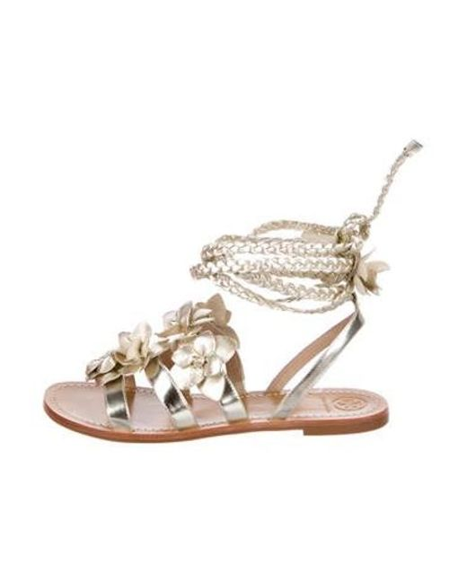 f74ab010b450 Tory Burch - Metallic Floral Leather Sandals Gold - Lyst ...