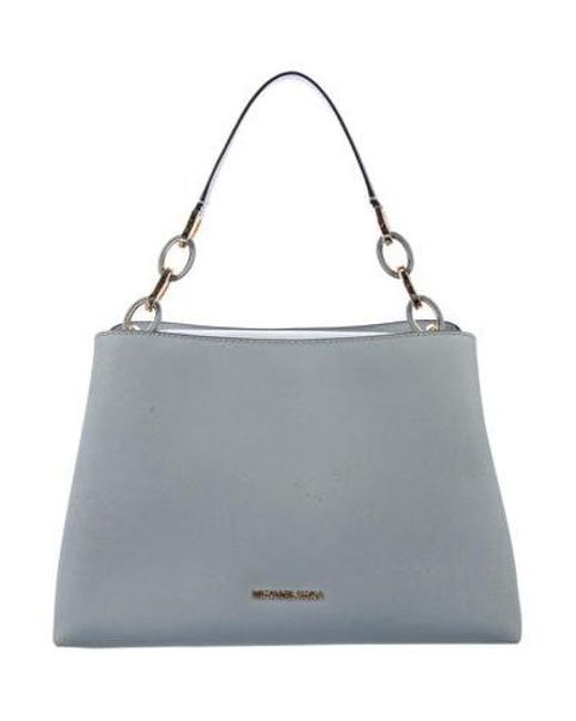 4c3f8fee7c21 MICHAEL Michael Kors - Metallic Michael Kors Leather Cynthia Satchel Blue -  Lyst ...