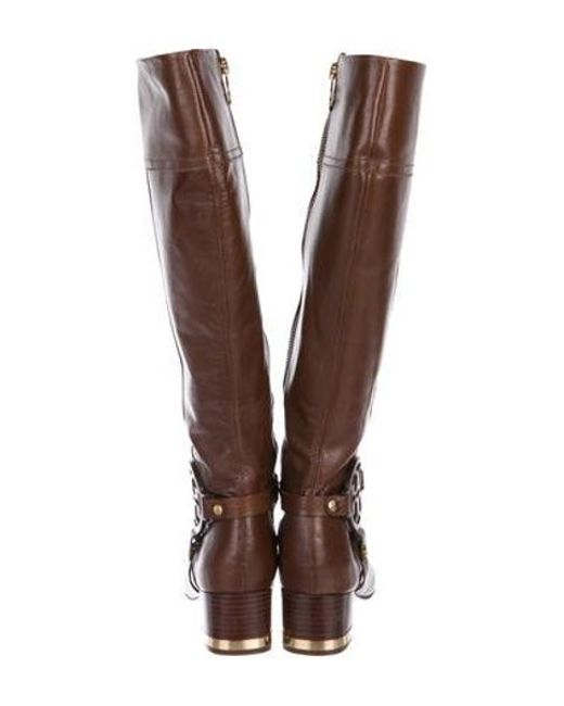 517cdb63dfc ... Tory Burch - Metallic Leather Knee-high Boots Brown - Lyst