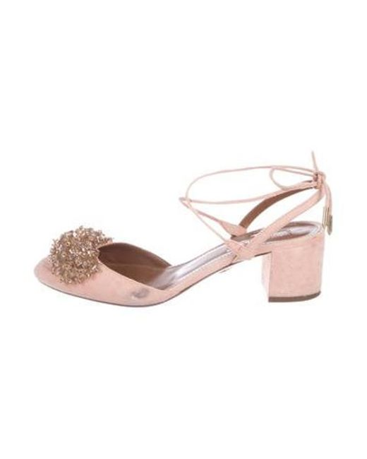 abcdeef1aaa Aquazzura - Pink Suede Embellished Pumps - Lyst ...