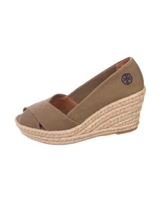 e05dc46c2 Tory Burch - Brown Canvas Wedge Espadrilles - Lyst ...