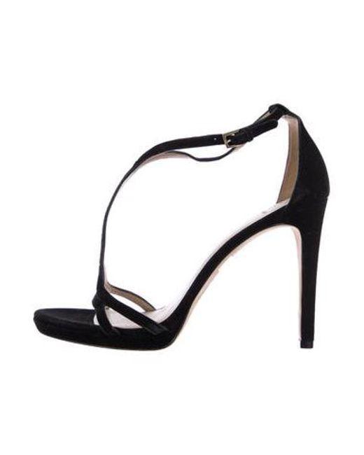 f3b782450fd790 Tory Burch - Black Suede T-strap Sandals - Lyst ...