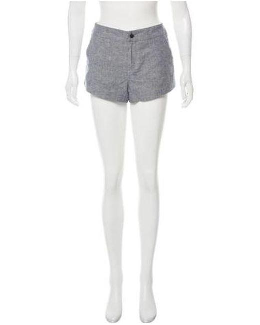 Rag & Bone - Blue Leather-trimmed Mini Shorts - Lyst