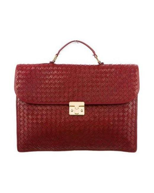 2470eed8dc7d Bottega Veneta - Metallic Intrecciato Leather Briefcase Red for Men - Lyst  ...
