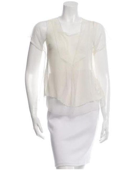 Ports 1961 - Natural Short Sleeve Sheer Blouse Neutrals - Lyst