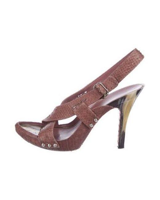 705023821aa Dior - Metallic Python Slingback Sandals Mauve - Lyst ...