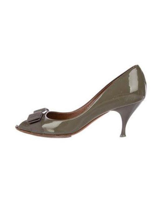 85f7ed1c82b9 Ferragamo - Green Patent Leather Mid-heel Pumps - Lyst ...