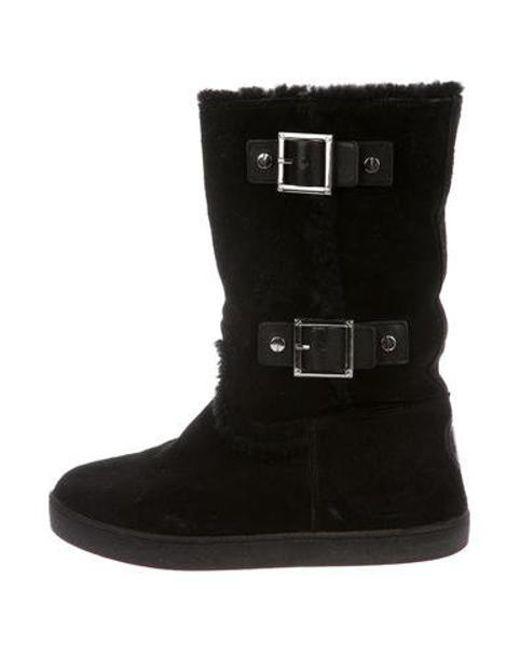 1b71bcc21a4b Tory Burch - Metallic Suede Mid-calf Boots Black - Lyst ...