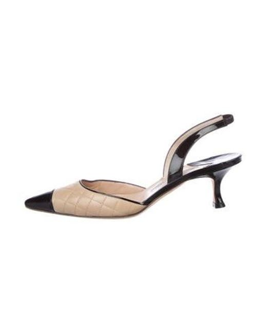 8772ee116a4 Manolo Blahnik - Natural Patent Leather Slingback Pumps Black - Lyst ...