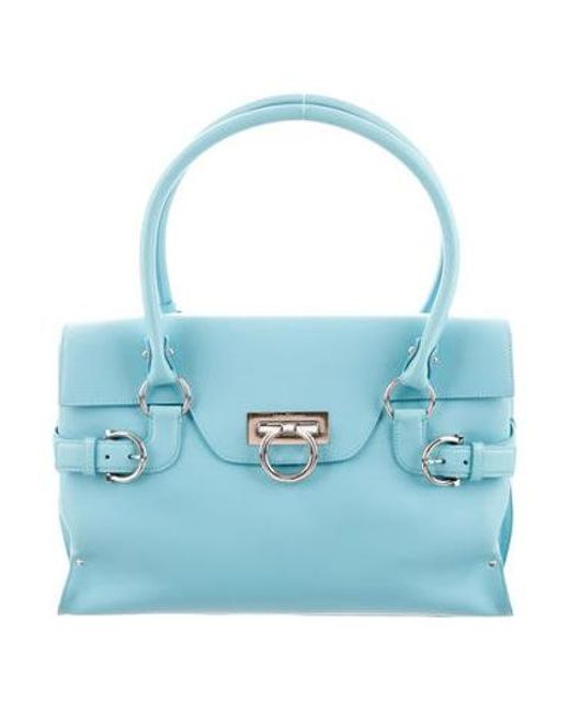 ac4cd721442e Ferragamo - Metallic Mirlo Leather Tote Blue - Lyst ...