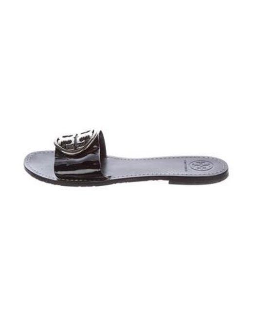 ef5bdabf77790f Tory Burch - Black Logo Slide Sandals - Lyst ...