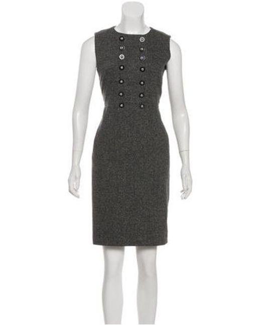 db2c2773bc08 Tory Burch - Gray Sleeveless Knee-length Work Dress Grey - Lyst ...