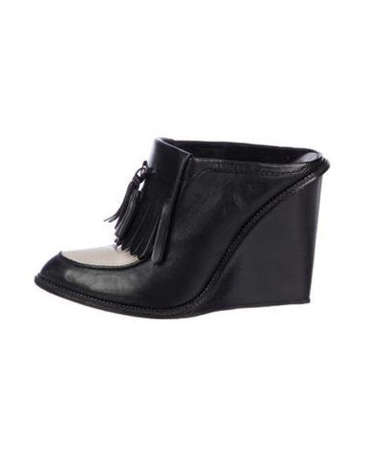 f5fdd5db0ca Alexander Wang - Gray Leather Tassel Wedges Black - Lyst ...
