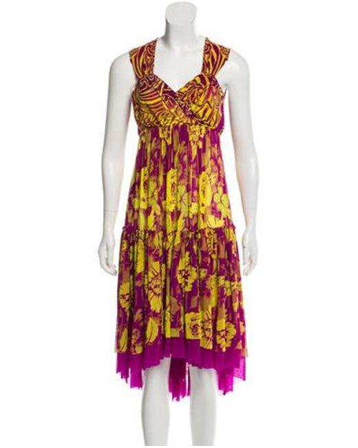 Jean Paul Gaultier - Yellow Sleeveless Printed Dress - Lyst