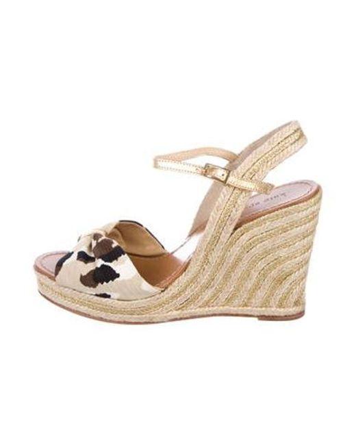 b2077367a917 Kate Spade - Brown Canvas Wedge Sandals - Lyst ...