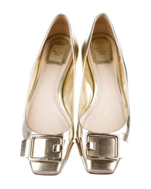 235a1f75d63 ... Dior - Metallic Leather Square-toe Flats - Lyst ...