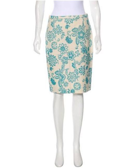 Boutique Moschino - Blue Knee-length Patterned Skirt - Lyst