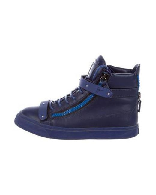050f8295289c Giuseppe Zanotti - Blue Leather High-top Sneakers Navy - Lyst ...