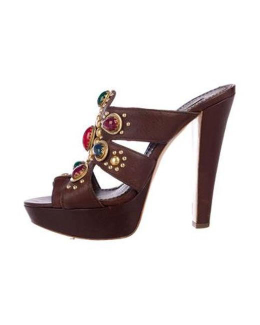 eadb49637a2 Miu Miu - Brown Miu Leather Studded Platform Sandals - Lyst ...