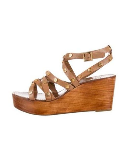 cd02f8da240 Tory Burch - Natural Leather Flatform Sandals Tan - Lyst ...