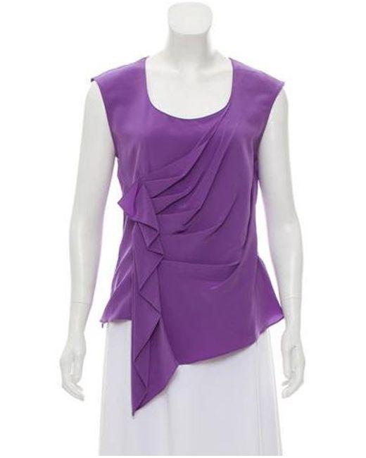 c522d2873e763 Derek Lam - Purple Silk Scoop Neck Top - Lyst ...