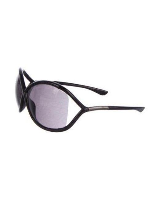 2297f94011 ... Tom Ford - Metallic Oversize Tinted Sunglasses Black - Lyst ...