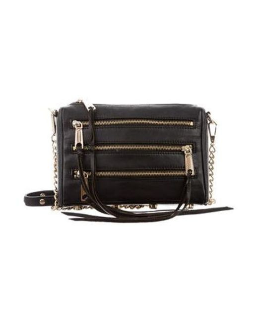 c27e6980a1 Rebecca Minkoff - Metallic Three Zip Rocker Crossbody Bag Black - Lyst ...