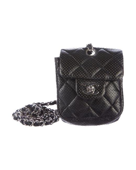 Chanel | Metallic Perforated Mini Flap Bag Black | Lyst