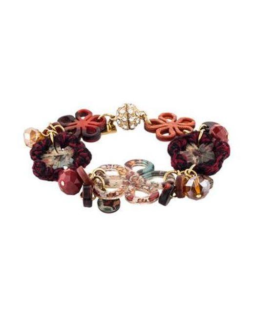 Etro - Metallic Floral Charm Bracelet Gold - Lyst
